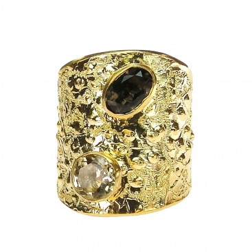 Polemis G14 - Gold Plated Sterling Silver Ring with Gemstones