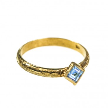 Polemis G4 - Gold Plated Sterling Silver with Gemstones Stackable Band Ring