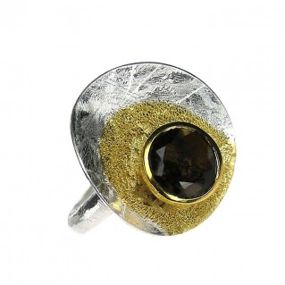 Polemis G41 - Sterling Silver Ring with Smoky Quartz