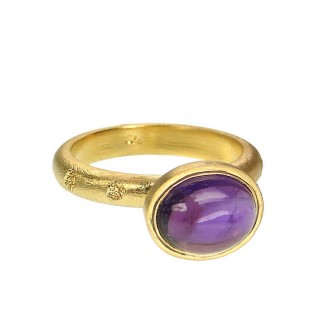 Polemis G8 - Gold Plated Sterling Silver and Amethyst Band Ring