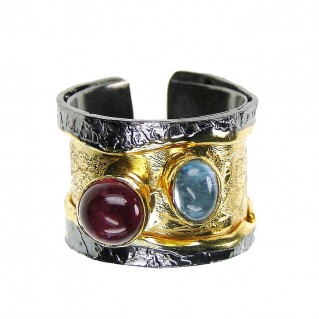 Polemis L121 - Sterling and Gold Plated Silver Ring with Gemstones