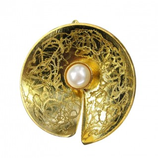 Polemis L130 ~ Gold Silver Large Pendant with Pearl