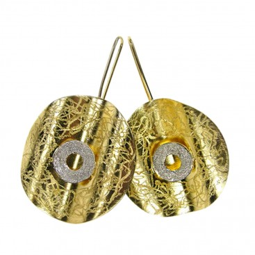 Polemis L142 ~ Sterling & Gold Plated Silver Disk Earrings