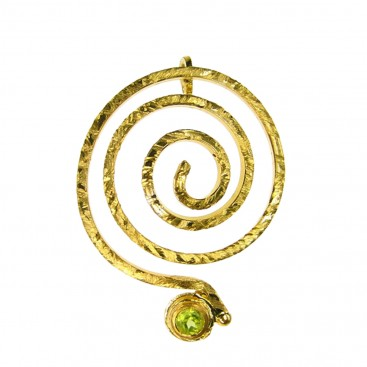 Polemis 173 ~ Gold Plated Silver Large Spiral Pendant with Stone