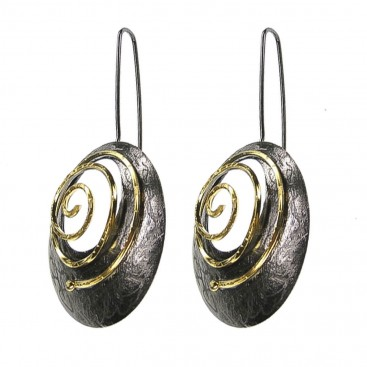 Polemis 174 ~ Black & Gold Silver Large Spiral Earrings