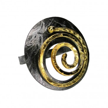 Polemis L174 - Sterling & Gold Plated Silver Large Ring