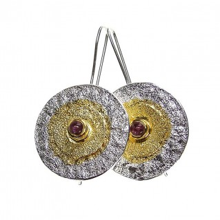 Polemis 177 ~ Silver & Gold Accents Large Disk Earrings