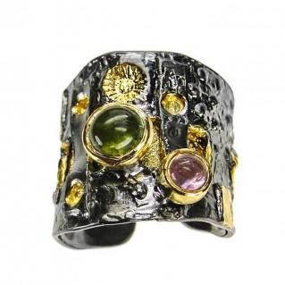 Polemis L27 - Black & Gold Silver Multi Stone Wrap Ring