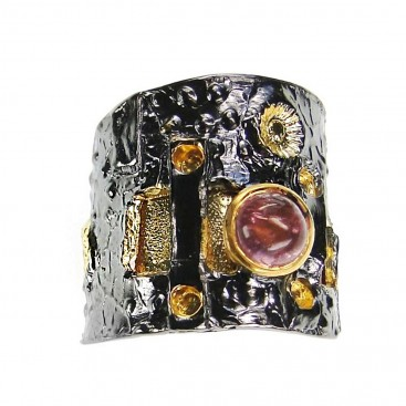 Polemis L31 - Black & Gold Silver Single Stone Wrap Ring