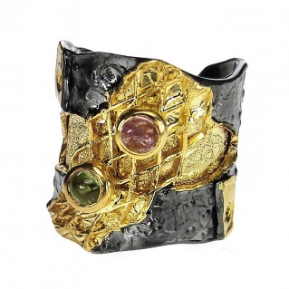 Polemis L32 - Sterling & Gold Plated Silver Large Ring