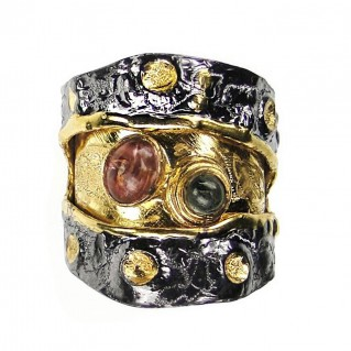 Polemis L36 - Sterling & Gold Plated Silver Large Ring