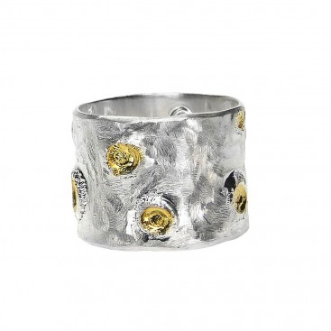 Polemis L41B - Sterling Silver and Gold Plated Silver Ring