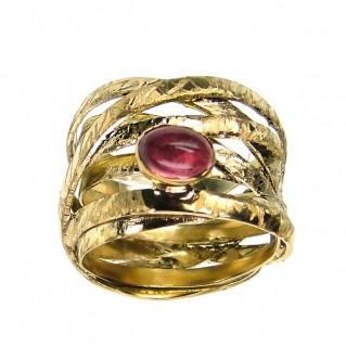 Polemis T16 - Gold Plated Sterling Silver Single Stone Wrap Ring