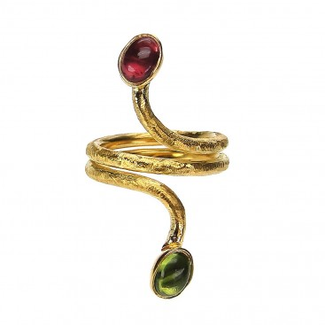 Polemis W10 - Gold Plated Silver Multi Stone Coil Wrap Ring