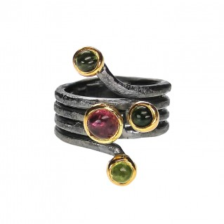 Polemis W11 - Sterling Silver Wrap Ring with Gemstones