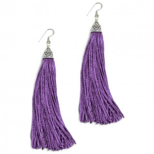The Fringes ~ Sterling Silver & Rayon Earrings - The Intriguing Purple