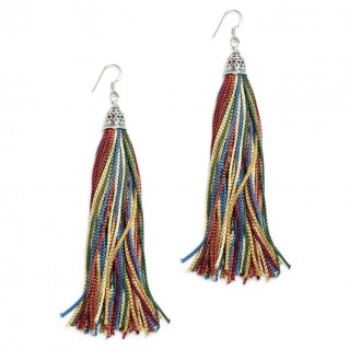 The Fringes ~ Sterling Silver & Rayon Earrings - The Gypsy Princess