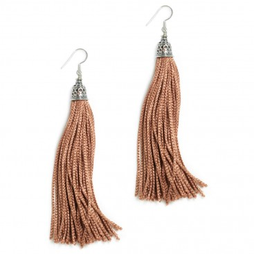 The Fringes ~ Sterling Silver & Rayon Earrings - The Cinnamon Delight