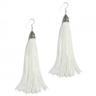 The Fringes ~ Sterling Silver & Rayon Earrings - The Pure White