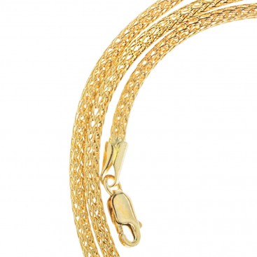 14K Solid Yellow Gold Round Mesh Chain 2.5 mm - Hollow