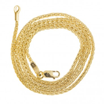 14K Solid Yellow Gold Round Wheat Chain 1.6 mm - Hollow