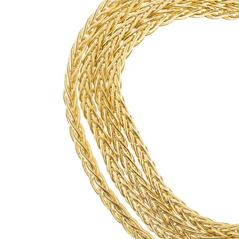 14K Solid Yellow Gold Wheat Round Chain