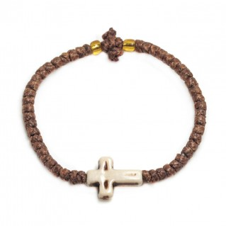 Prayer Rope Bracelet ~ Komboskini ~ Chotki - Brown with Beige Cross