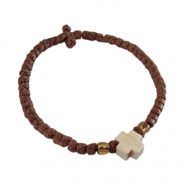 Prayer Rope Bracelet ~ Komboskini ~ Chotki - Brown with Beige Cross