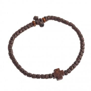 Prayer Rope Bracelet ~ Komboskini ~ Chotki - Brown with Brown Cross