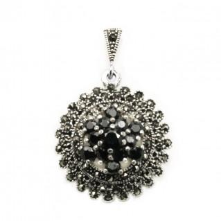 Ornate Pendant ~ Garnet, Marcasite & Sterling Silver - Round
