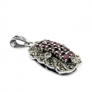 Ornate Pendant ~ Garnet, Marcasite & Sterling Silver