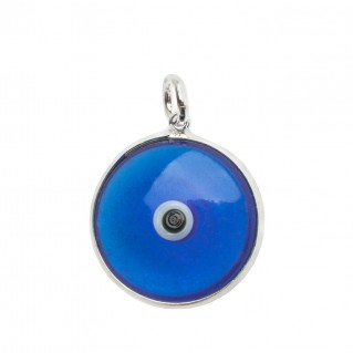 Evil Eye Amulet ~ Sterling Silver and Blue Glass Pendant-Charm