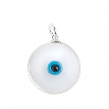 Evil Eye Amulet ~ Sterling Silver and White Glass Pendant-Charm