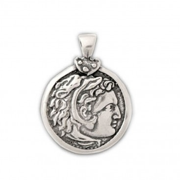 Alexander the Great ~ Silver Coin Pendant - L