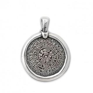Minoan Phaistos Disk ~ Sterling Silver Pendant- M