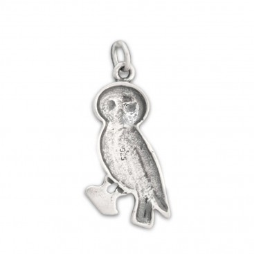 Goddess Athena's Wise Little Owl ~ Sterling Silver Pendant - C