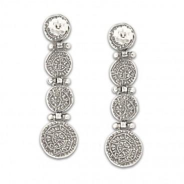 Minoan Phaistos Disk ~ Sterling Silver Pierced Earrings ~ 4 Disks
