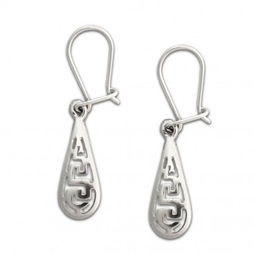 Meander-Greek Key ~ Sterling Silver Drop Earrings