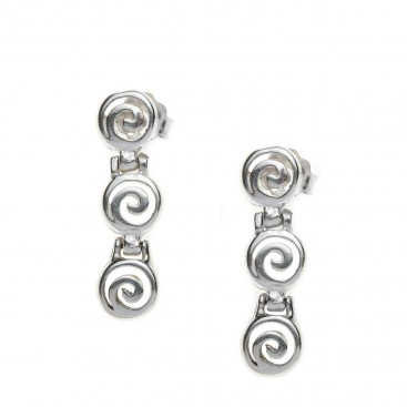 Spirals ~ Sterling Silver Drop Earrings