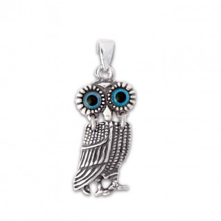Goddess Athena's Wise Little Owl ~ Sterling Silver Pendant - A