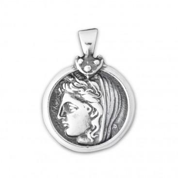 Delphic Stater - Goddess Demeter Sterling Silver Coin Pendant