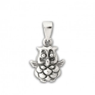 Wise Little Owl ~ Sterling Silver Pendant-Charm