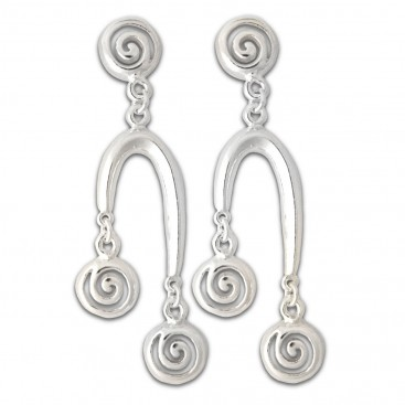 Three Spirals in One - Sterling Silver Drop Earrings