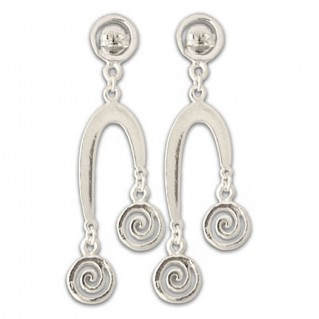 Three Spirals in One - Sterling Silver Drop Earrings