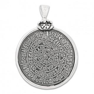 Minoan Phaistos Disk ~ Sterling Silver Pendant- L