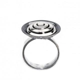 Spiral ~ Sterling Silver Hammer Finished Ring