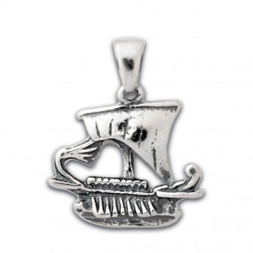 Trireme - Ancient Greek Ship ~ Silver Pendant