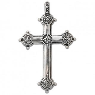 Floral Baroque ~ Sterling Silver Cross Pendant - Large Size