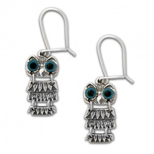 Goddess Athena's Wise Little Owl ~ Sterling Silver Pierced Earrings