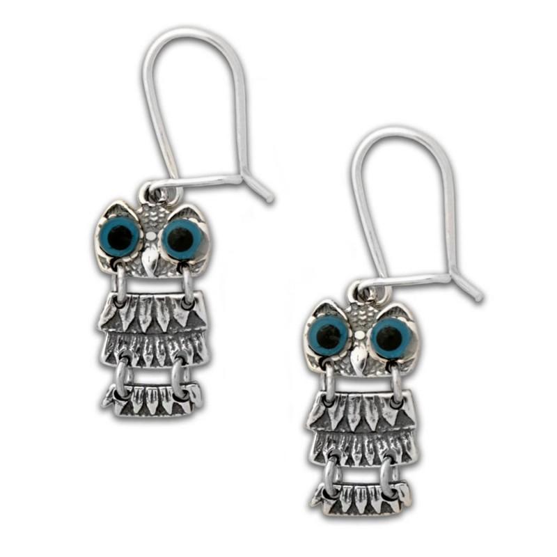 Goddess Athena S Wise Little Owl Sterling Silver Pierced Earrings